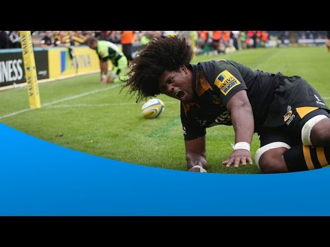 Ashley - Ashley Johnson makes a great interception and scores the first try of the match as Wasps beat the reigning champions Northampton at Adams Park. Subscribe and never miss the action: http://bit.ly/...