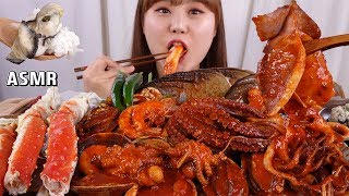 ASMR Mukbang 굴밥과 킹크랩 다리, 전복, 문어, 오징어를 넣은 매콤한 해물찜까지 먹어보아용~