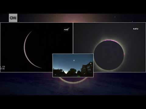 2017 eclipse: First moment of totality (видео)