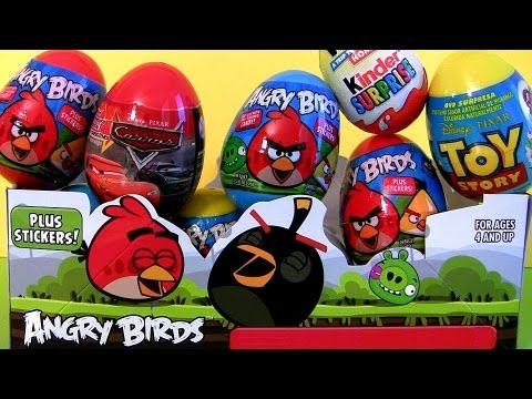 Cars 2 Kinder Surprise Eggs Unwrapping Angry Birds Holiday Edition Easter Toys Disney Pixar