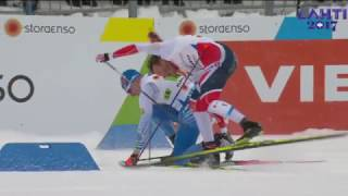 1st - 2nd place crash - Men's Team Sprint - FIS 2017 Nordic World Ski Championships - Lahti, Finland