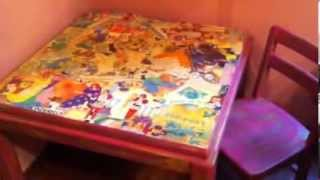DIY decoupage KIDS furniture and Music memorabilia Decoupage projects - YouTube