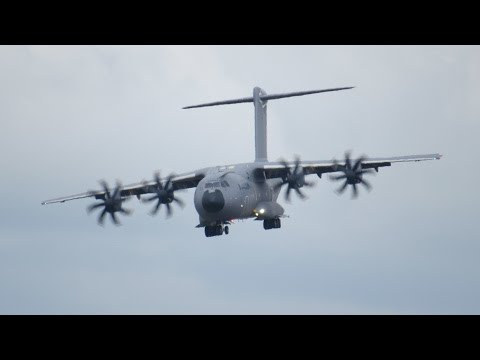 Airbus A400M very short landing and Reverse Thrust. This aircraft is able to drive back