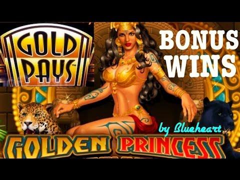 GOLDEN PRINCESS slot machine BONUS and Progressive jackpot wins!