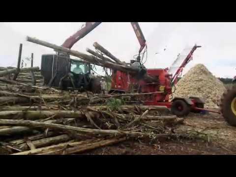 Picador PFL 400x700 M-C picando eucaliptos, podas de árvores e madeiras de entulho