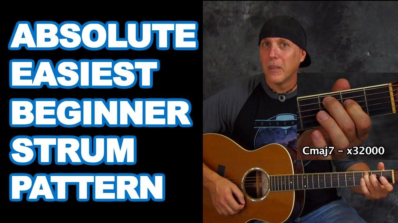 The Absolute Easiest beginner guitar strum pattern – learn rhythm play songs