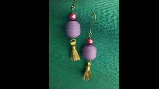 Quilling earrings purple sphere with tassel