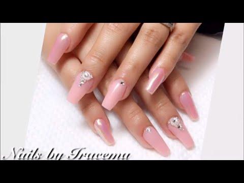 Decorados de uñas - Uñas acrílicas esculturales baby pink pasó a paso 2019/Nail art
