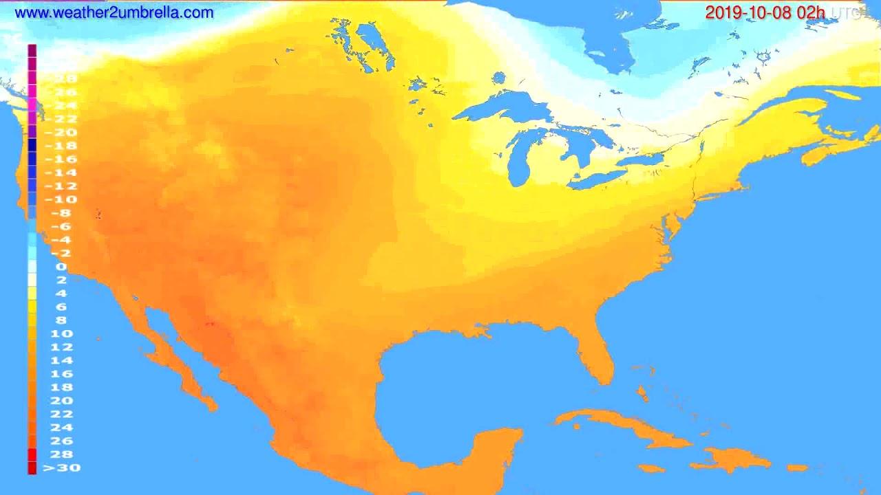 Temperature forecast USA & Canada // modelrun: 00h UTC 2019-10-05