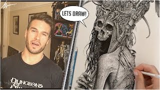 "Hello and welcome to my 1st video of 2016! Here I share with you the entire process of one of my new ""Dark Nature"" pieces ""Latro"" Close to 12 hours of footage sped up to about 10 minutes. I give a quick rundown of the tools I used to draw this piece, why and how I like to use them. Hope you enjoy and please subscribe and ask me any questions! Chris xhttps://www.instagram.com/lovellarthttps://www.facebook.com/TheArtofChristopherLovellhttp://www.christopherlovell.com"