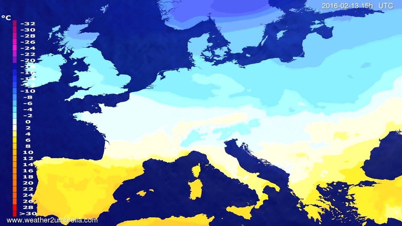Temperature forecast Europe 2016-02-10