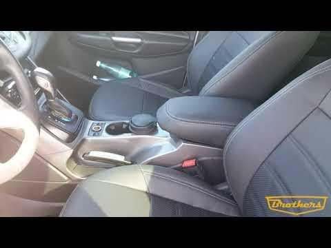 """Чехлы на Ford Kuga 2, 2012-2016, серии """"Premium"""" - серая строчка"""