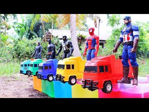 Learn Colors Dump Truck With  Superhero Video For Kids ,  Vehicles&Superhero