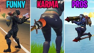 INFINITE ROCKET RIDES! FUNNY vs KARMA vs PROS! Fortnite Battle Royale Funny Moments