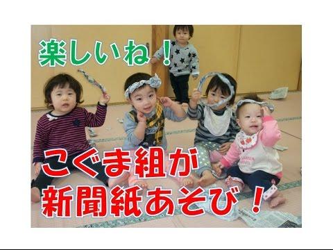 八幡保育園(福井市)こぐま組(0歳児)が新聞あそび!2017年1月。丸めたりやぶったり新聞紙をつかって思い思いに遊んでます。楽しいね!