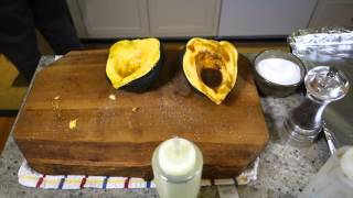 How to Cook Roasted Acorn Squash - Episode 105episode suggested by and dedicated to Shannon Marie!IngredientsAcorn Squash - 1 squash serves about 4 side dishes.Kosher or Sea SaltPepperOlive OilBalsamic Vinegar (optional)Halve the squash with a sharp knife.Remove seeds with a spoon.Preheat oven to 400F (200C)Coat squash halves with salt, pepper, oil and vinegar(optional).Roast for 45 minutes.Scoop to serve and adjust salt and pepper.