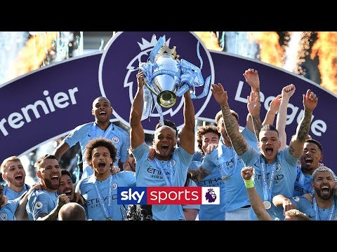 Manchester City lift the Premier League trophy after winning the 2018/19 title!