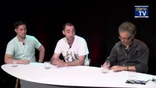 Felipe Pozo conversa con  Andrés Fielbaum, Álvaro Castañón y Cristian Pertuzé