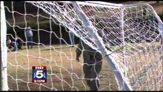 """My husband, Sgt Richard Ussery has been in Iraq for the past year. His unit came home at Thanksgiving, but he was stuck at Ft. Hood, TX for medical reasons. He received a 3-day pass and came home to see the last soccer tournament of this year. He has missed every game, and our 11-year-old had NO idea! Her reaction is priceless."""