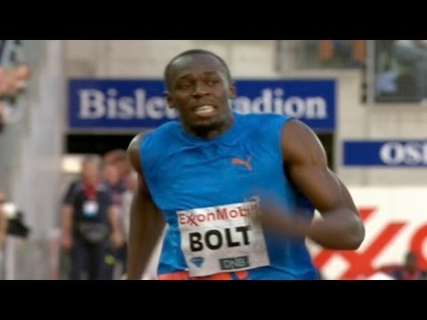 Usain Bolt runs down Asafa Powell at 2012 Oslo Bislett Diamond League