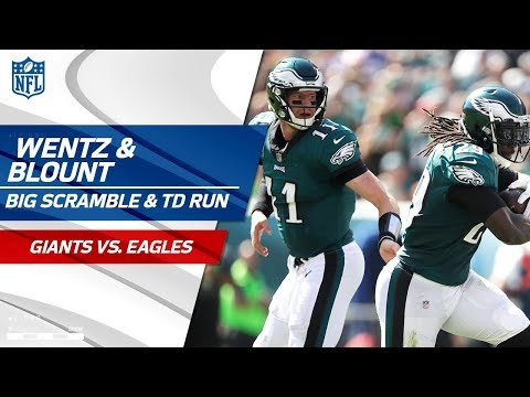 Video: Wentz's Great Scramble for First Down & Blount's Powerful TD Blast! | Giants vs. Eagles | NFL Wk 3