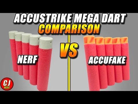 Nerf Dart Comparison - Accustrike Mega Vs Accufake Mega Darts