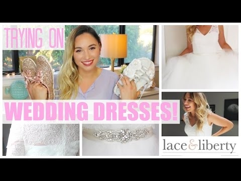 D.I.Y. BRIDE | Trying on Lace & Liberty WEDDING DRESSES & New Wedding Shoes!