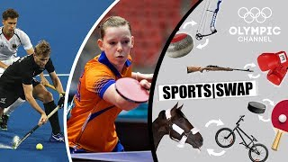 Can field hockey player Blair Tarrant return the table tennis serve of the female Dutch champion Brit Eerland?Check out the Sports Swap series where Olympians try each others sport: http://bit.do/SportsSwapEN         Subscribe to the Olympic Channel here: http://bit.ly/1dn6AV5