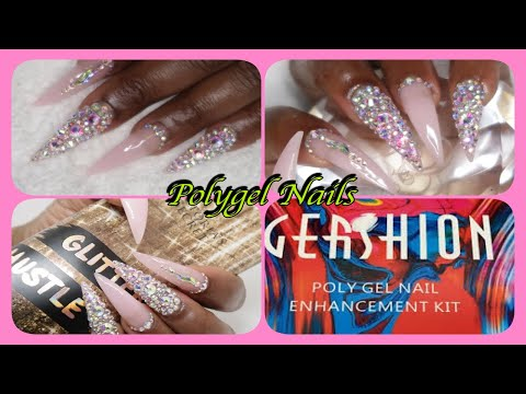 Gel nails - Gershion Polygel Stiletto Nails WithBLING