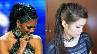 Nicole Scherzinger French Braid Edgy Ponytail Hairstyle for Medium Long Hair Tutorial - YouTube