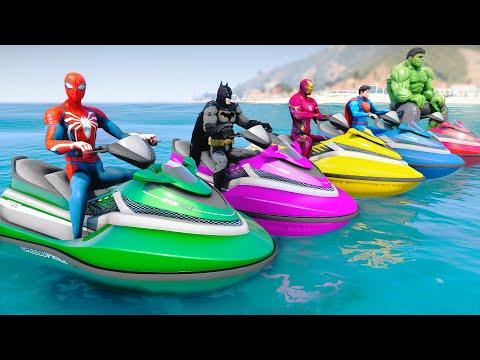 Superheroes Jet Ski Water Racing Challenge With Spiderman Batman Hulk Superman Iron Man - GTA MODS