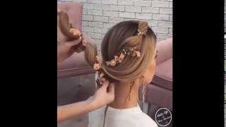 свадебные прически на длинные волосы с украшением живыми цветами