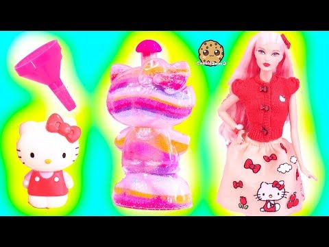 Play doh - Rainbow Sand Art Craft Kit with Hello Kitty Barbie Doll - Toy Video Cookie Swirl C