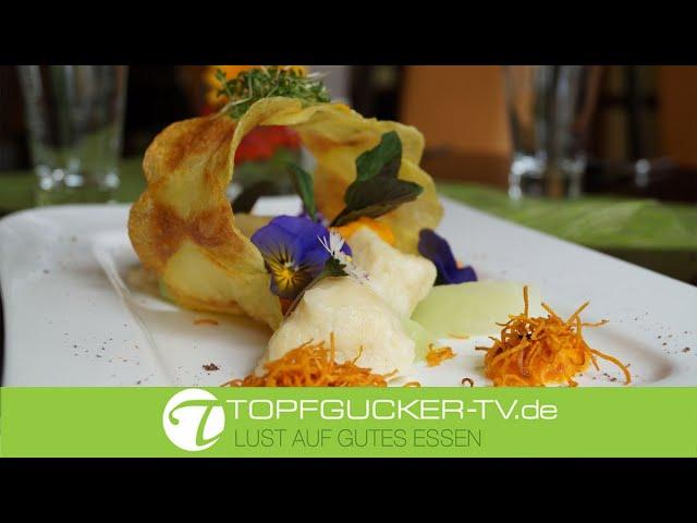 Krabatocchis   Karottenpüree   Kohlrabispalten   vegetarisches Rezept