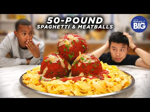 I Made Giant 50-Pound Spaghetti And Meatballs for Kalen Reacts •Tasty