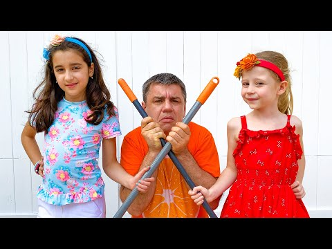 Nastya and friend help dad and collect surprises