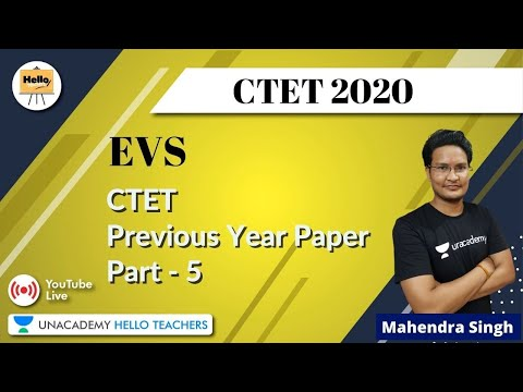 Previous Year Paper   Part- 5   EVS for CTET   Mahendra Singh Mehra