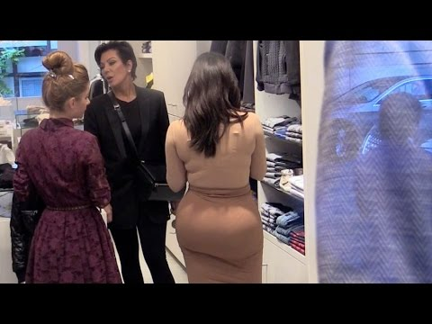 Kim Kardashian, her huge derriere and mother Kris Jenner doing shopping for North in paris