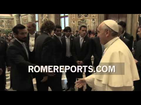Pope Francis meets with Italian and Argentinian soccer players in Rome