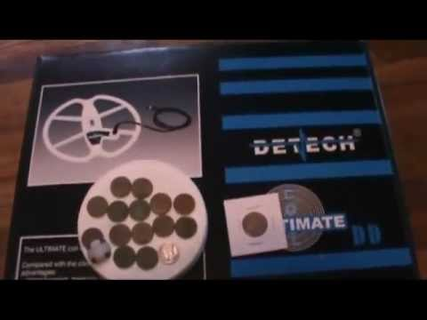 DETECH ULTIMATE 13 DD COIL UNBOXING AND HUNT MINELAB E-TRAC Indians, silver, wheats