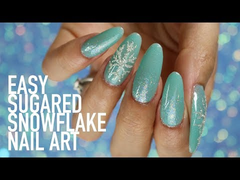 Gel nails - EASY MINT GEL POLISH AND SILVER SUGARED SNOWFLAKES NAIL TUTORIAL