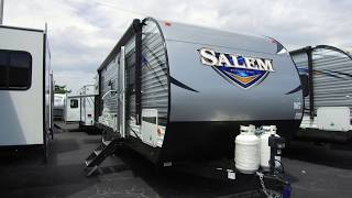 7. 2019 Forest River Salem 30KQBSS Travel Trailer with Oyster Interior Walk Through