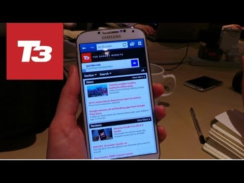 Samsung Galaxy S4 hands-on. First look at the new smartphone from Samsung that comes with a 5-inch screen and a 13-megapixel camera.