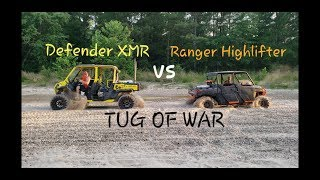 9. 2019 Canam Defender XMR vs 2019 Polaris Ranger Highlifter - Tug of War - Drag Race