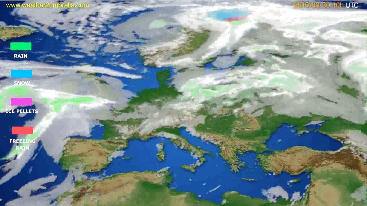 Precipitation forecast Europe // modelrun: 00h UTC 2019-09-28