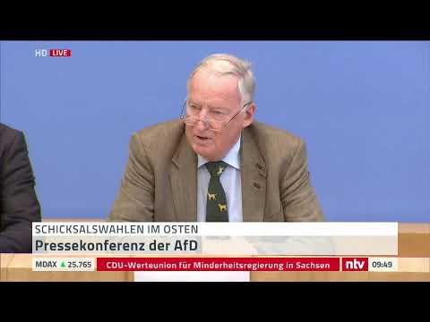 Pressekonferenz der AfD zu den Wahlergebnissen in Sac ...
