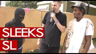 Sleeks & SL speak to Westwood backstage after Section Boyz bring out SL & Loski on the main stage.