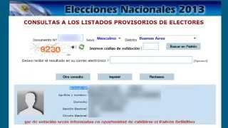 www.padron.gob.ar Consulta Al PADRÓN PROVISORIO 2013 Argentina - Elecciones Primarias Y Nacionales