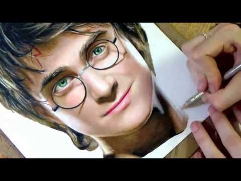 drawing - Prismacolor colored pencil drawing of Daniel Radcliffe as Harry Potter. Music: Harry Potter - Remixed by Andrew Gerlicher, The Time To Run (Finale) by Dexter...