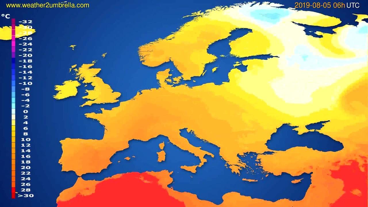 Temperature forecast Europe // modelrun: 12h UTC 2019-08-02